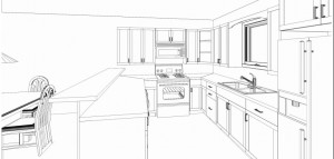 Style Kitchen Simple Futuristic Future Kitchen Drawing